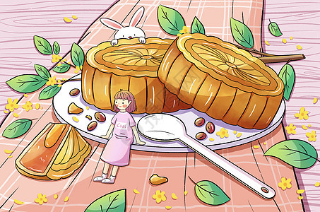 中秋节eat月饼的兔子和girl picture