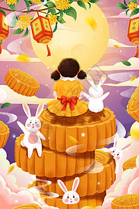 中秋节girl 与兔�由驮耬at月饼插画picture