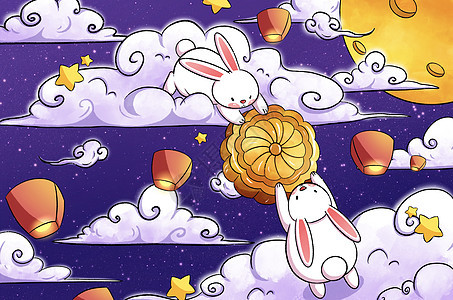 中秋节玉兔分享月饼插画picture
