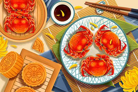 中秋节美味螃蟹月饼插画picture