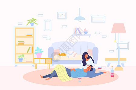 温暖的时光居家房地产插画图片