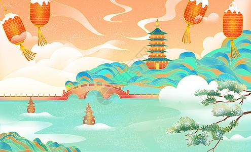 中国风杭州建筑风景地标冬天雪景插画图片