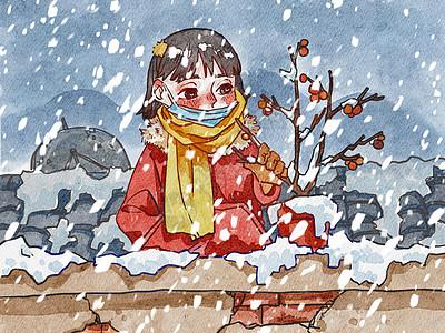 冬天下雪的时候去阳台看盆栽的戴口罩的女孩水彩画漫画图片
