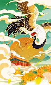神兽仙鹤城市北京天坛国潮插画图片
