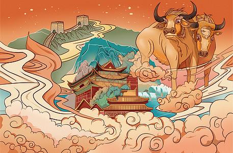 中国风2021牛年贺岁国潮插画图片