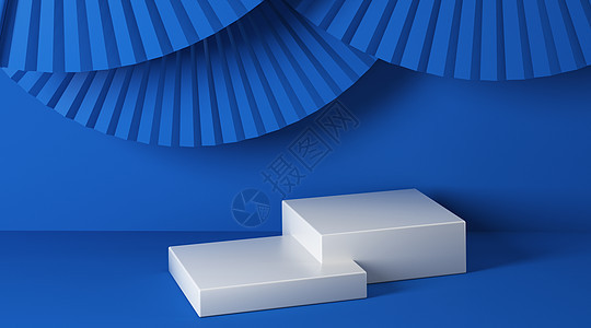 蓝色简约中式立体场景图片
