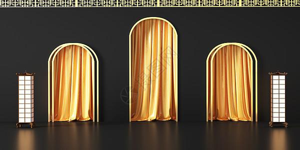 黑金中式立体场景图片