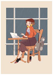 工作中的女性女神节插画图片