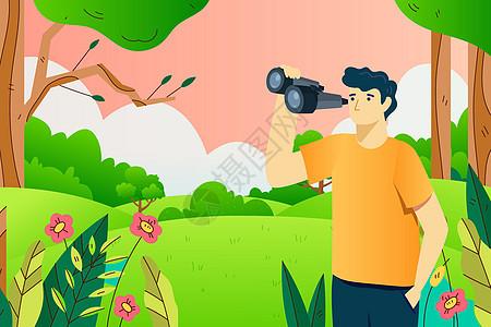 春季招聘望远镜找人矢量插画图片