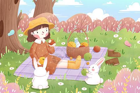 春分女孩森林野餐插画图片
