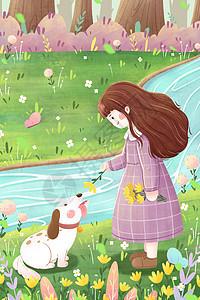 春分女孩郊游插画图片