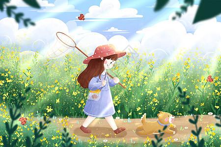 春分女孩与小狗插画图片