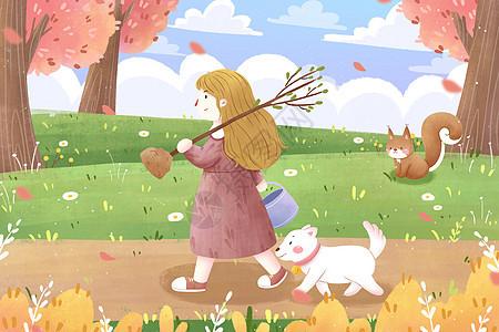 植树节女孩清新插画图片