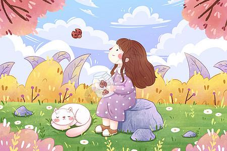 春分节气女孩森林插画图片