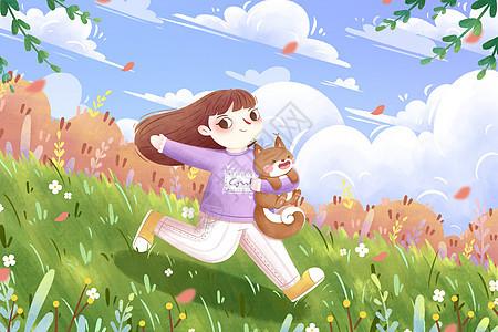 春分清新女孩奔跑插画图片