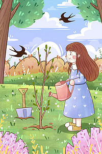 植树节女孩给树苗浇水插画图片