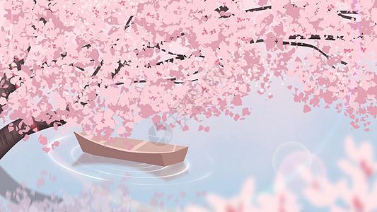春分樱花风景插画图片