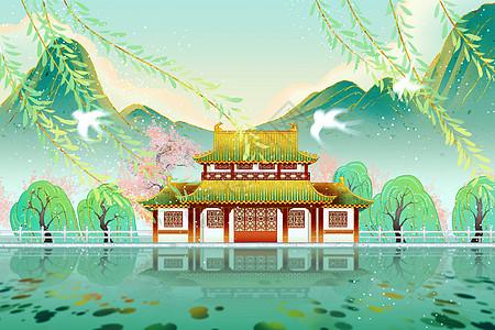 中国风传统建筑国潮春天绿色柳树桃花节气插画图片