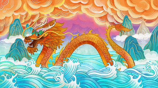 龙抬头国潮风插画图片