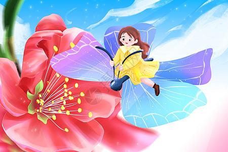 春分之小女孩坐在蝴蝶上赏花插画图片