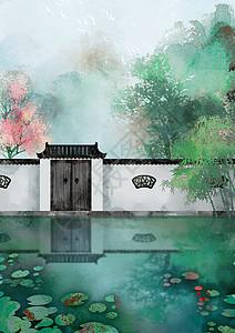 古风水彩水墨江南园林春天绿竹桃花传统节气插画图片