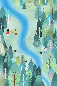 植树造林保护地球竖版插画图片