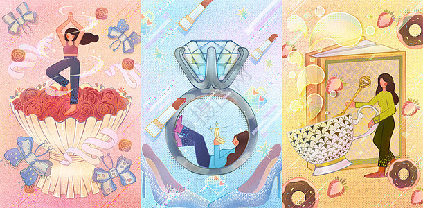 噪点风女生节精致女孩插画图片