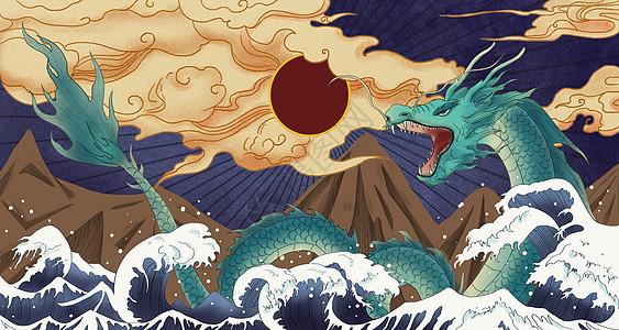 中式浮世绘风格龙国潮插画图片