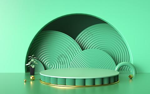 绿色电商展台背景图片