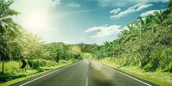 绿化公路背景图片