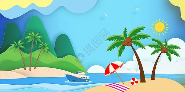 夏日剪纸风背景图片