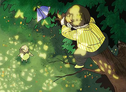 爬上树去拿纸飞机的男孩图片