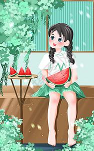 小暑坐在凳子上吃西瓜的女孩图片