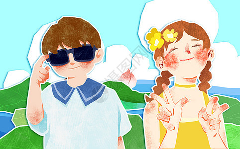 夏天在荷花池边拍照的小姑娘和小男孩剪贴画图片