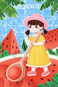 夏天西瓜和女孩图片
