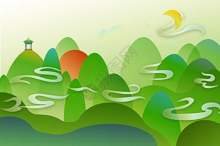 新中式绿色山水中国风矢量图片