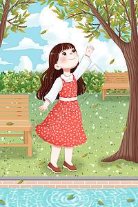 立秋女孩和落叶图片