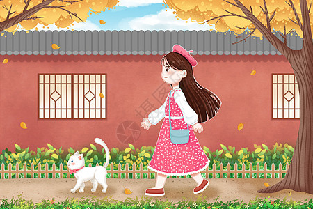 立秋散步的女孩和猫咪图片