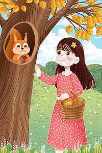 秋天女孩和树洞里的小松鼠图片