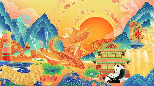 国潮广州旅游区插画图片