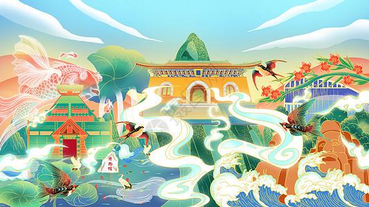 国潮风郑州城市插画图片