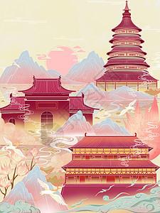国潮风城市建筑插画图片
