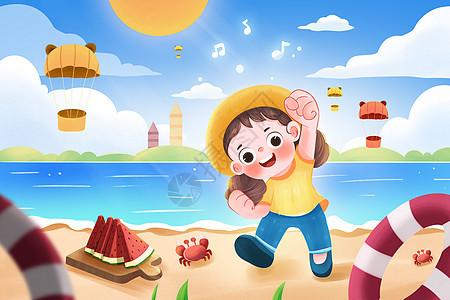 夏季沙滩海边小女孩游玩插画图片