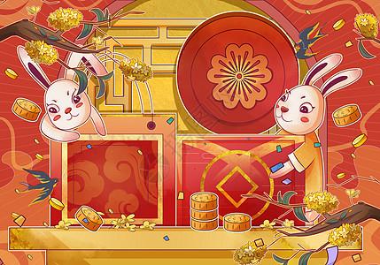 中秋节月饼礼盒送礼萌兔和桂花插画图片