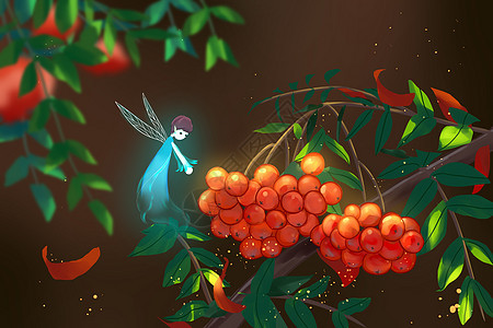 小精灵和红果子图片