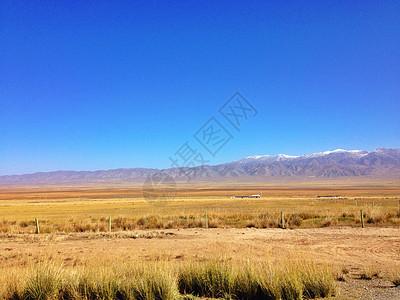 草原与雪山图片