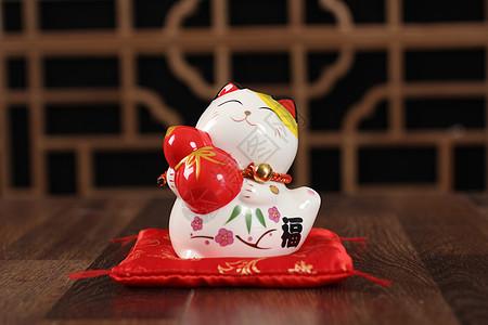 陶瓷摆件小猫咪福图片