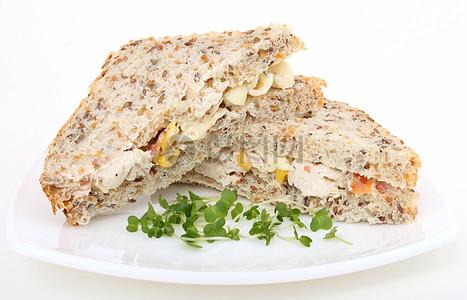 全麦面包三明治图片