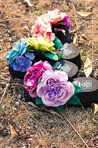 唯美花朵手工沙滩拖鞋图片
