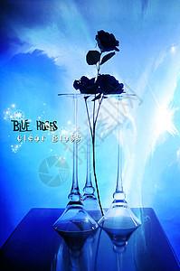 蓝色妖姬玻璃柱图片